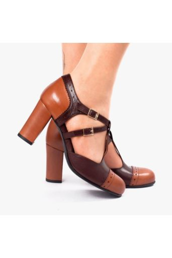 Elena Heels Brown Duotoon