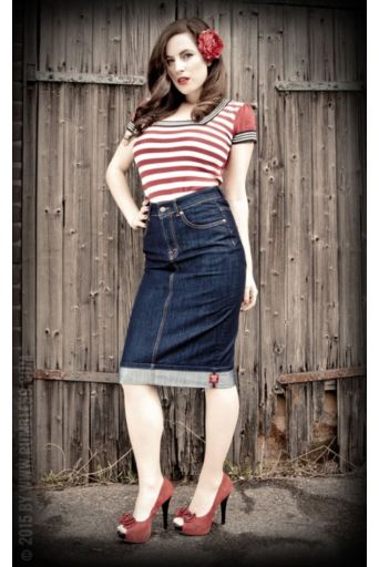 Perfect Jeans Pencil Skirt Denim Blue
