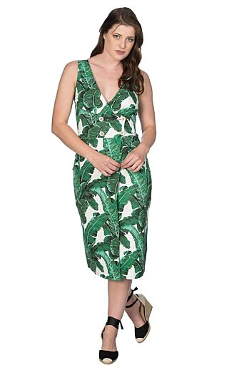 Tropical Leaves Dress Green