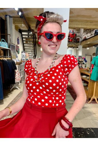 Dolores Top Polka Dot Rood/wit
